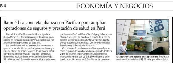Banmédica concreta alianza con Pacífico para ampliar operaciones de seguros  y prestación de salud en Perú fe18452a1ea