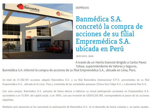 Banmédica S.A. concretó la compra de acciones de su filial Empremédica S.A.  ubicada en Perú 68d00c48399